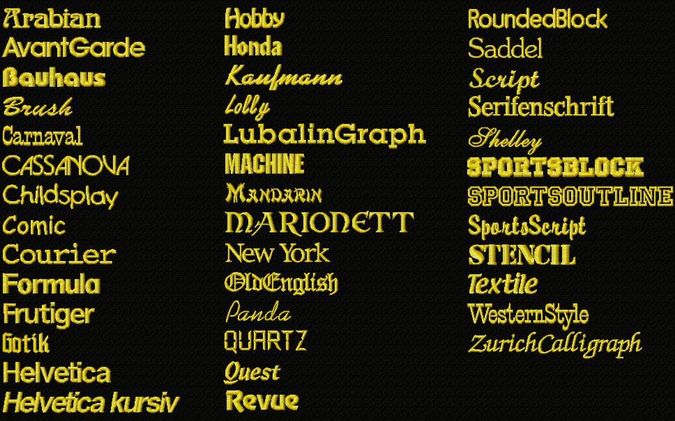 Schriftarten für lateinische namens und text bestickungen